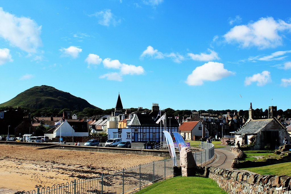 North Berwick with conical hill named Berwick Law (613 feet)