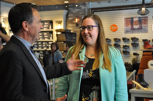 Labour Minister Christina Gray meets with Dwane Kunitz of Kunitz Shoes