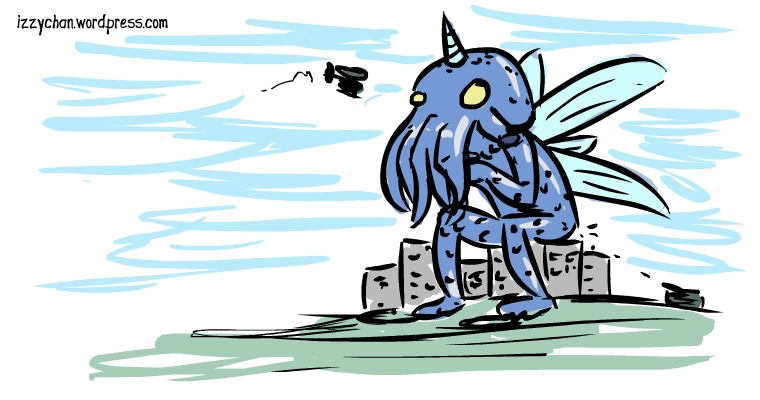 blue octopus monster city