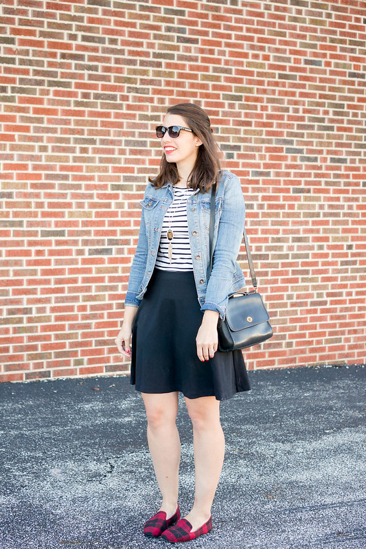 denim jacket + white and black stripe tee + black skirt + black Coach purse | Style On Target blog