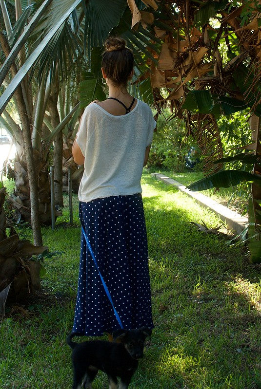Mood Fabrics Polka Dot Rayon Challis & Linen Knit