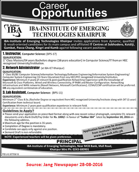 IBA Institute of Emerging Technologies Khairpur Jobs