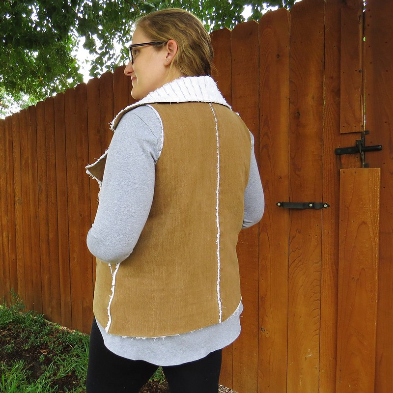 Denim Faux Shearling Vest - After