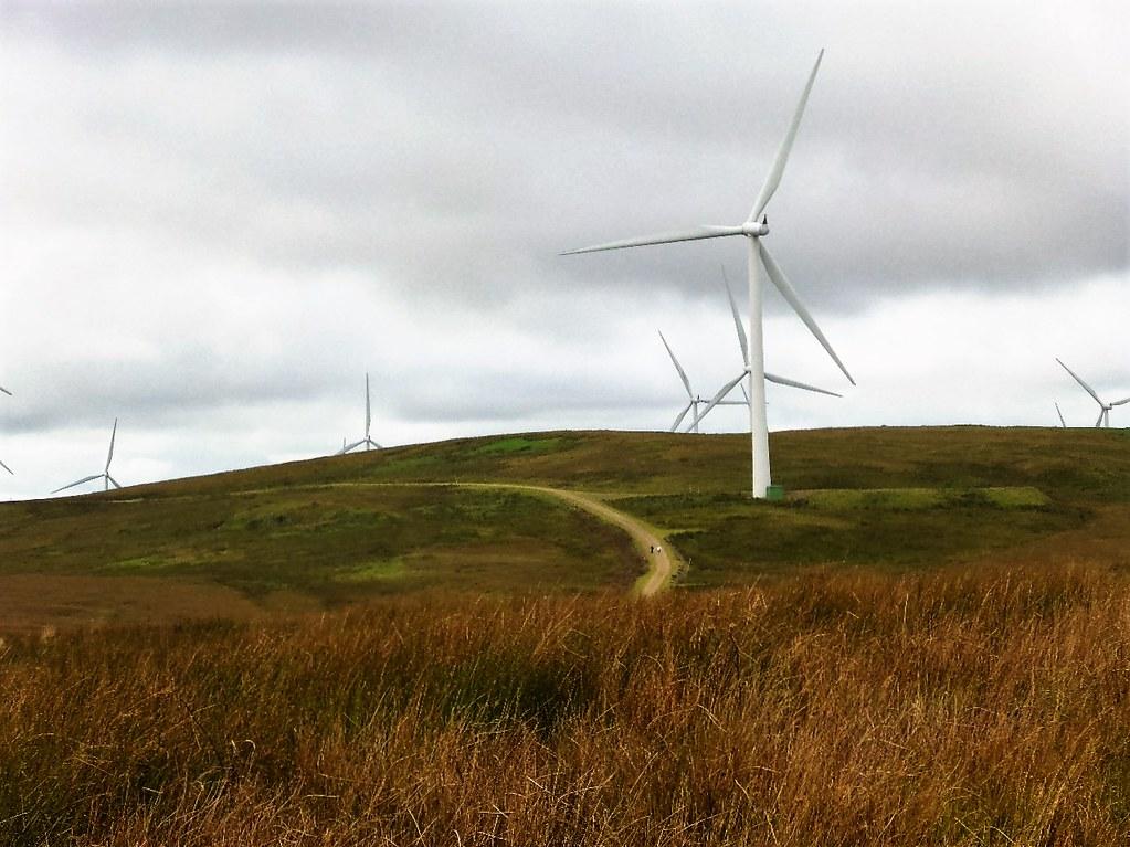 Trail through Whitelee Wind Farm, Scotland.