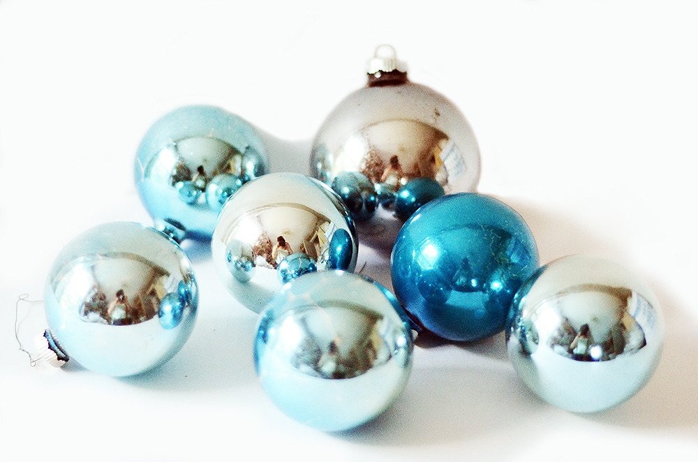 Seven Blue Vintage Ball Ornaments