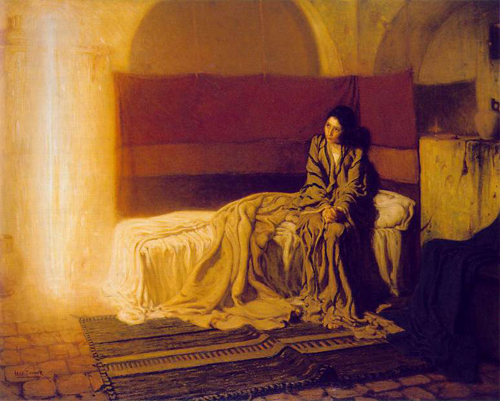 "Henry Ossawa Tanner, The Annunciation, 1898. Oil on canvas, 57"" × 71½"". Philadelphia Museum of Art."