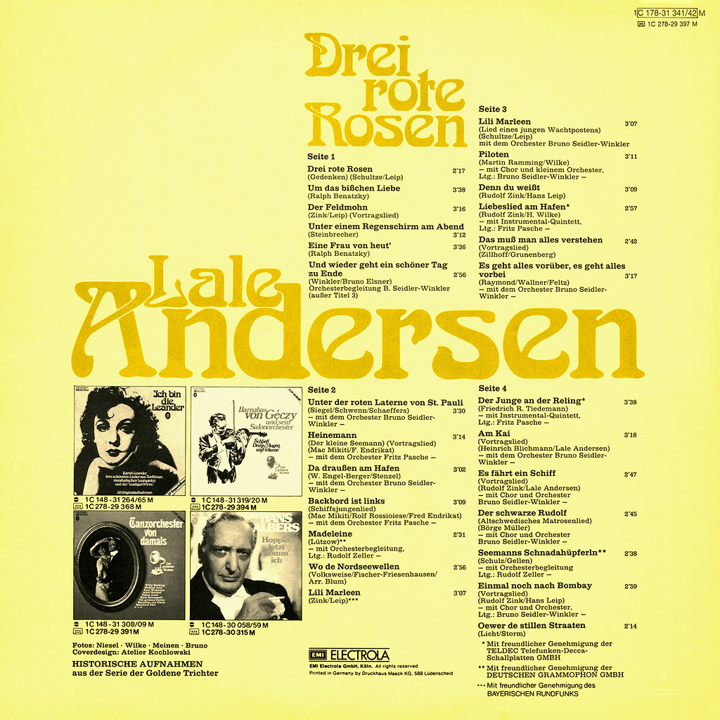 Lale Andersen - Drei rote Rosen