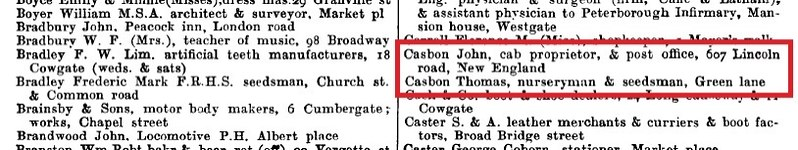 John and Thomas C 1910 directory Peterborough