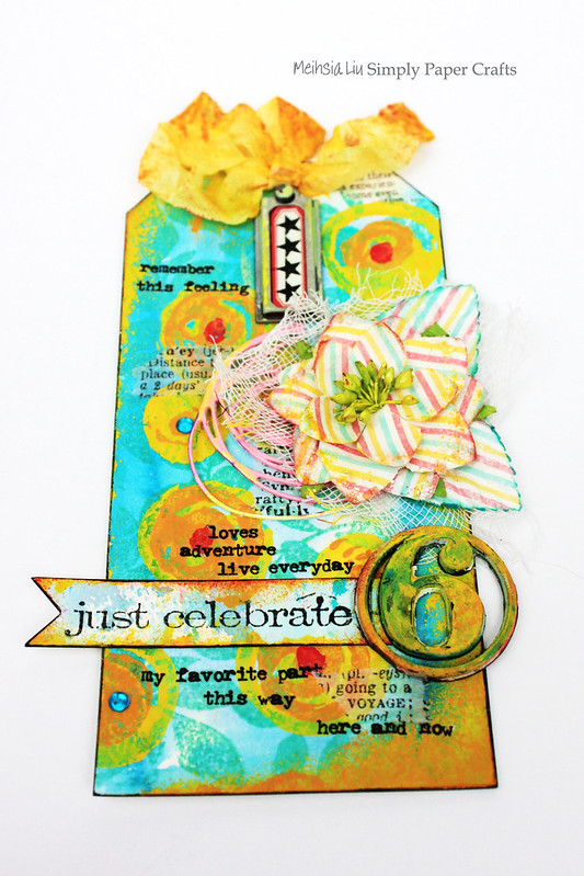 Meihsia Liu Simply paper Crafts Mixed Media Tag Celebrate Simon Says Stamp Monday Challenge 1