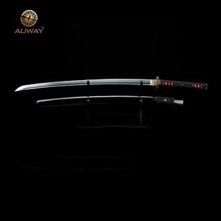 Auway-samurai-sword- Characters-Tsuba-Black-scabbard-1