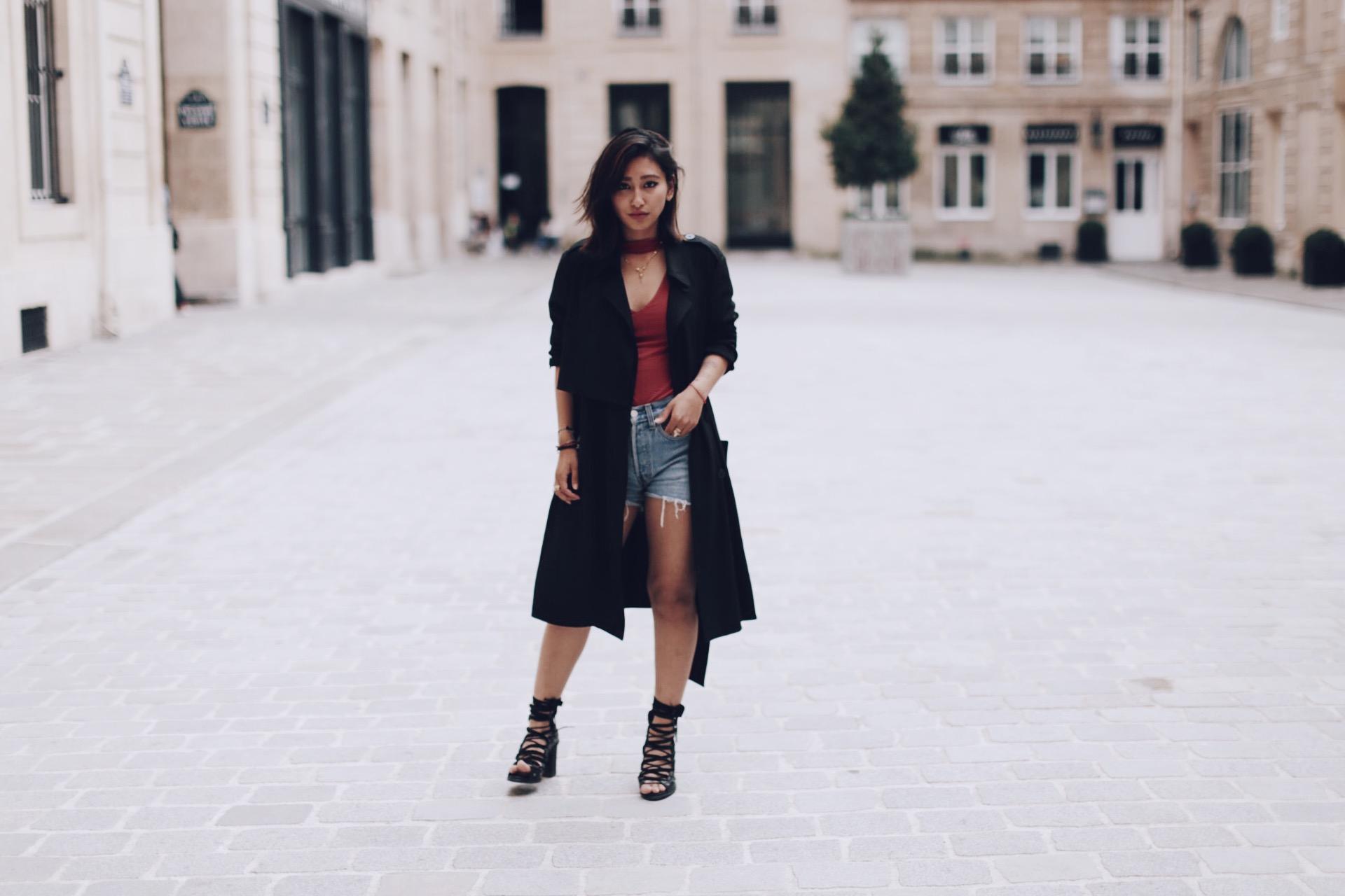 trench boohoo noir blog mode paris