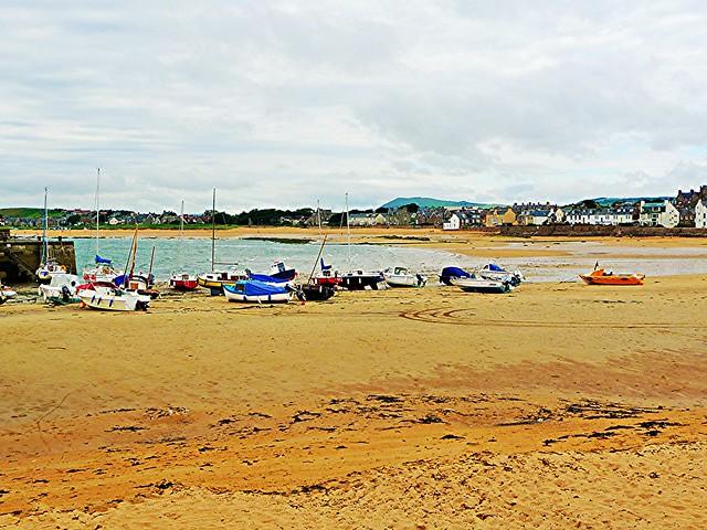Beach scene at Elie, Fife, Scotland.