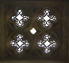 four quatrefoils in the low side window