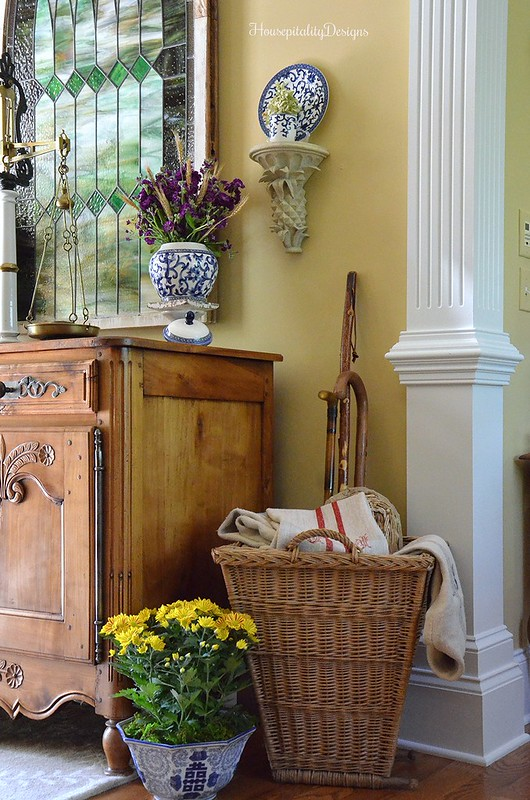 Antique French Buffet - Antique French Gathering Basket - Foyer - Fall decor - Housepitlality Designs