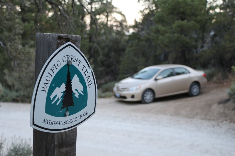 We leave our car at the hike's terminus on Poligue Canyon Road, on PCT Mile 279