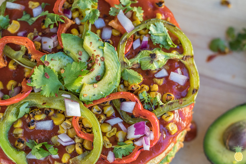 Mexican Pizza Cake w/ Sun Dried Tomato Jalapeño Cornbread {gluten & oil-free} sweetsimplevegan.com