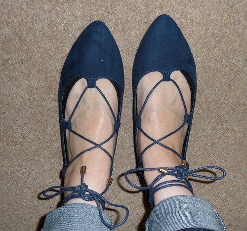 Primark navy lace up flats