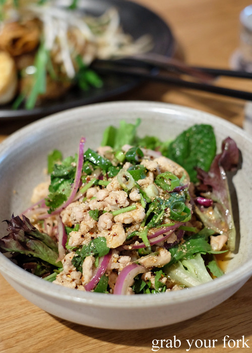 Larb gai chicken salad at Chat Thai at Gateway Sydney in Circular Quay