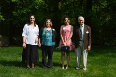 2016_ScholarshipTeaDSC_0113;Ramona Peyton Award Winner: left to right: Catherine Clowes & Diana Kollevoll (Murray Peyton's daughters), Eris Gee (Scholarship Winner) and Murray Peyton.
