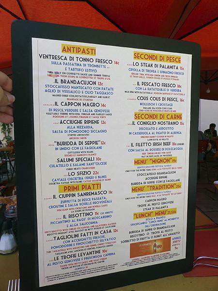 menu du restaurant de bordighera