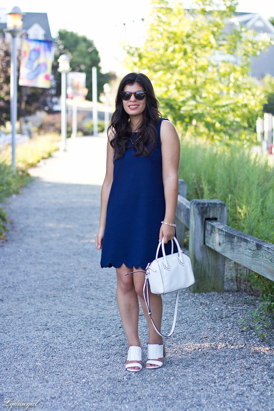 navy scalloped dress, rebecca minkoff bag and sandals-2.jpg