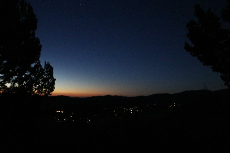 Pre-Dawn Lights of the town of Baldwin Lake from our campsite high on the PCT