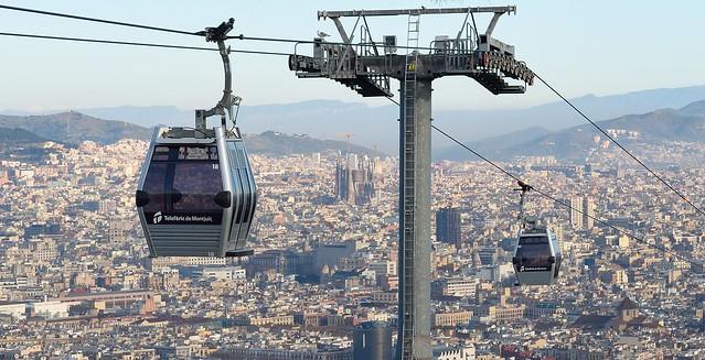 Telefèric de Montjuïc cars in Barcelona, Spain