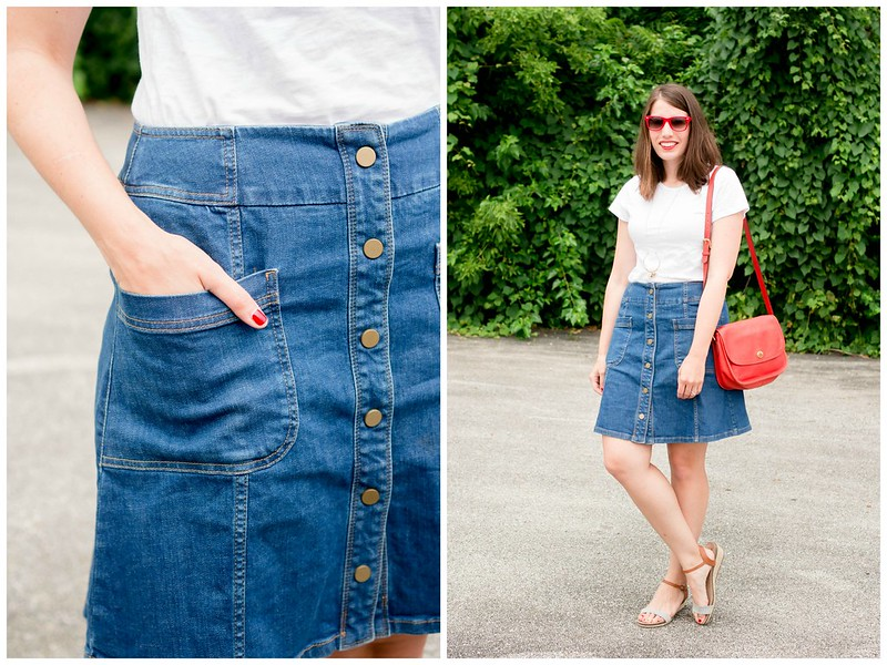 white tee + denim button skirt + red sunglasses + red Coach purse + Target sandals; casual summer outfit | Style On Target blog
