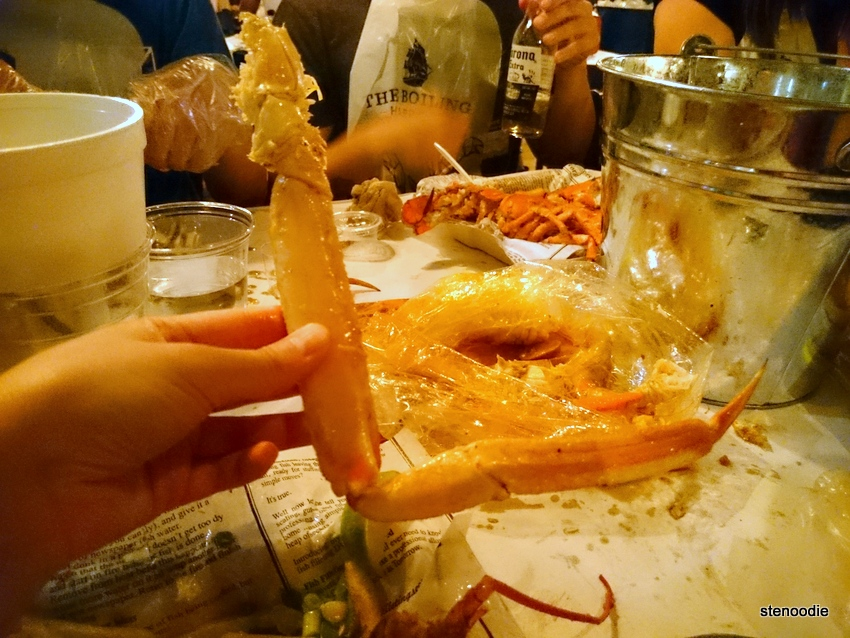 king crab leg in seafood boil