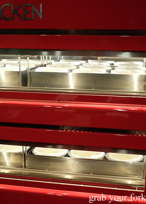 Japanese cheesecakes in the oven at Uncle Tetsu's Cheesecake at Regent Place Sydney