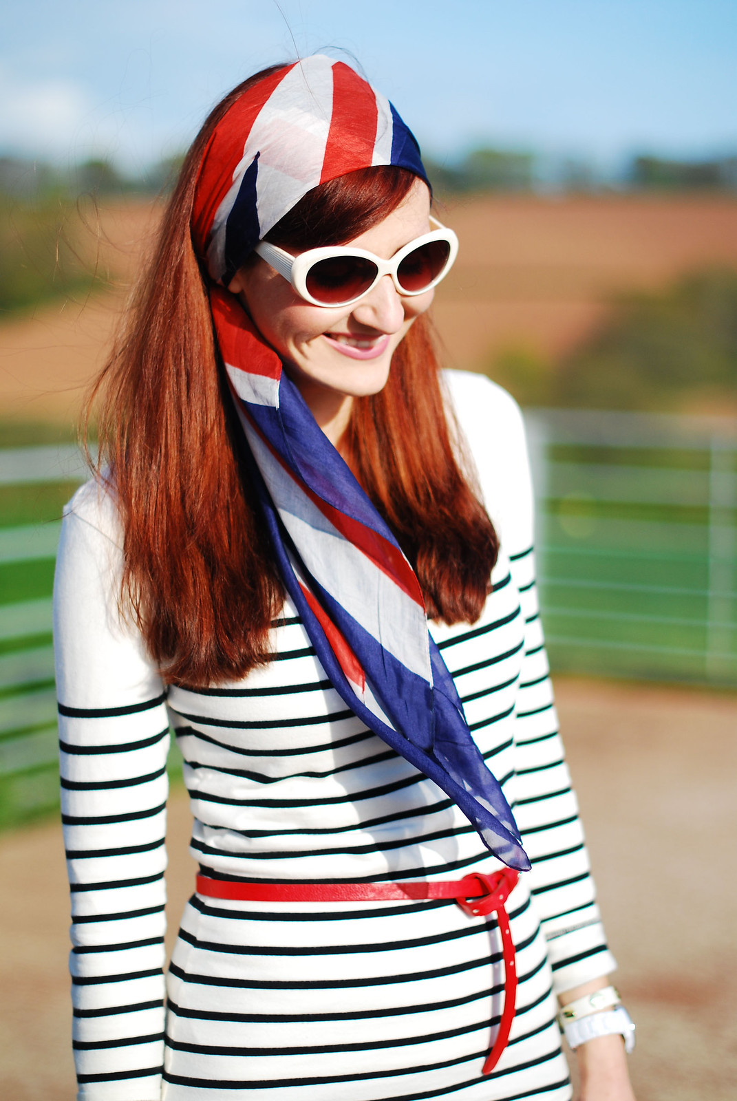 Nautical stripes, red white and blue head scarf | Not Dressed As Lamb