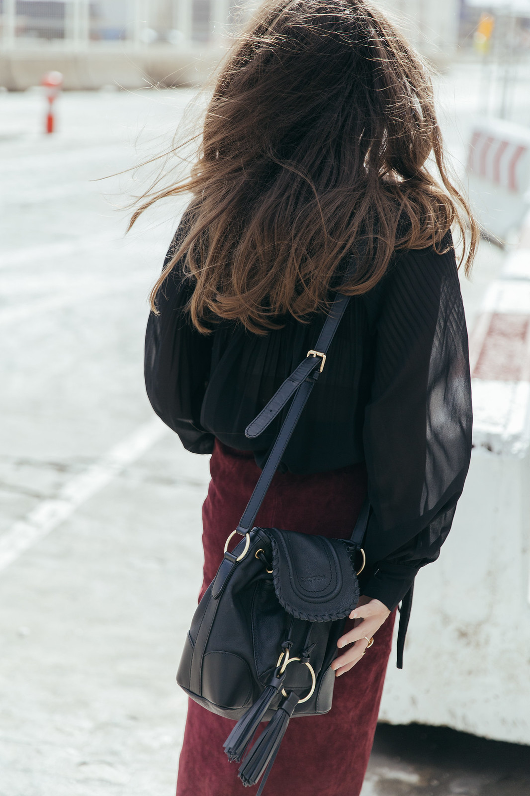 Jessie Chanes Seams for a desire - Burgundy Midi Skirt -12