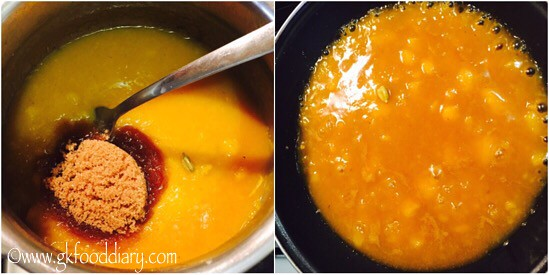 Yellow Pumpkin Halwa Recipe for Babies, Toddlers and Kids - step 4