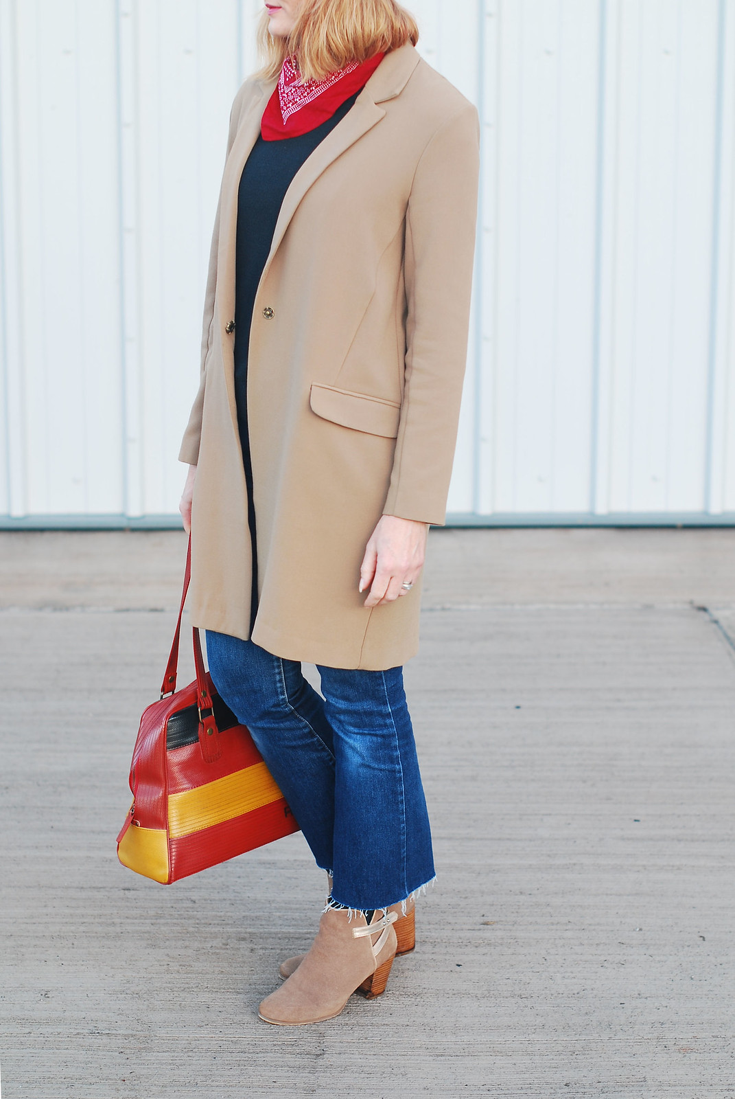 How to style a longline camel blazer for autumn/fall: Cropped flared jeans, suede ankle boots, vintage baker boy hat and neck scarf | Not Dressed As Lamb, over 40 style