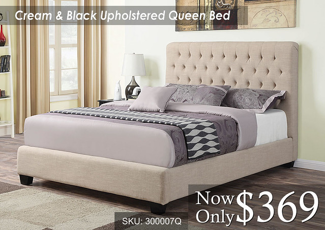 Cream & Black Upholstered Queen Bed