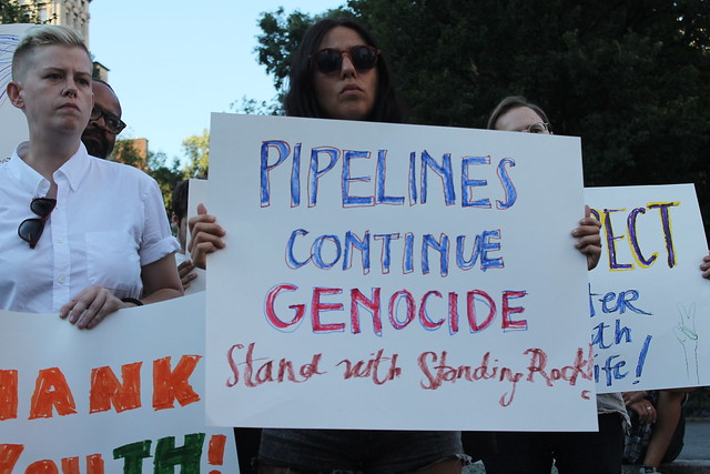 Native youth and supporters protest in New York against Dakota Access Pipeline