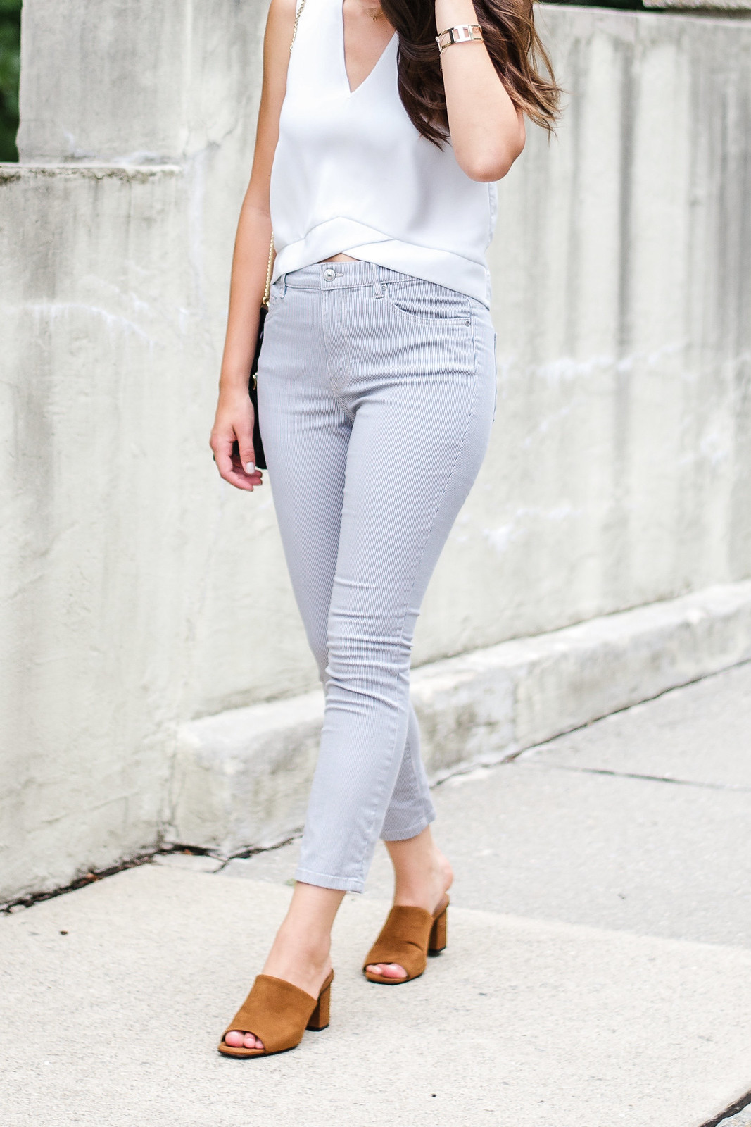 Casual Style White Top Stripe Pants