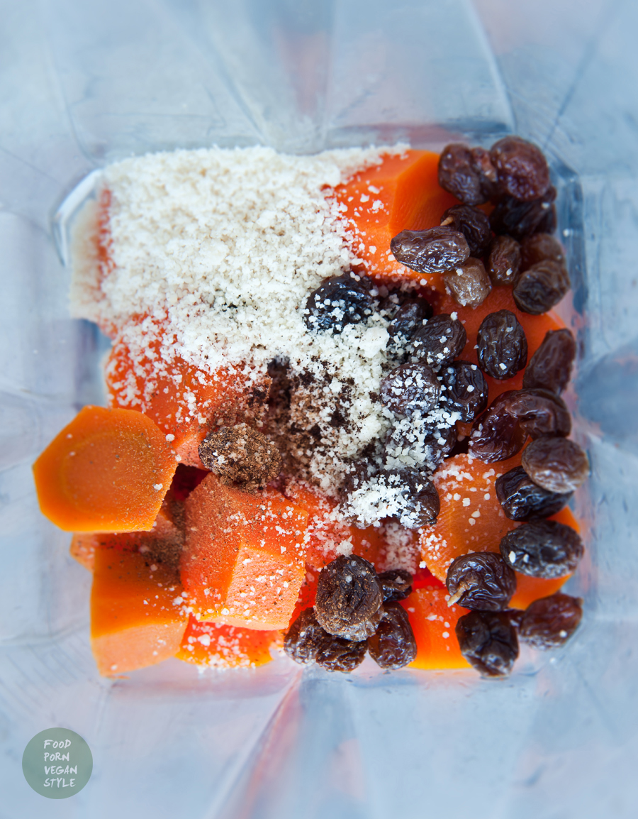 Roasted carrot pudding with almonds and cinnamon