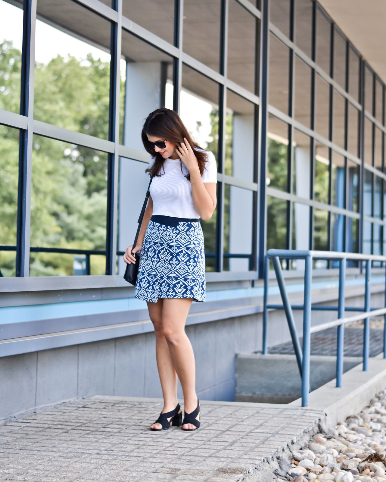 Pattern Skirt White Top Outfit