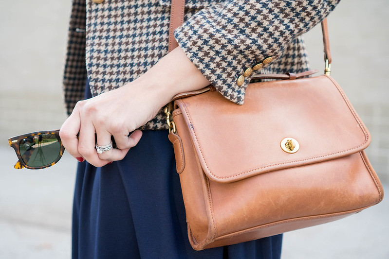 navy fit and flare dress + plaid J.Crew blazer + loafer heels + cognac knot belt + cognac tan purse; fall work outfit   Style On Target blog