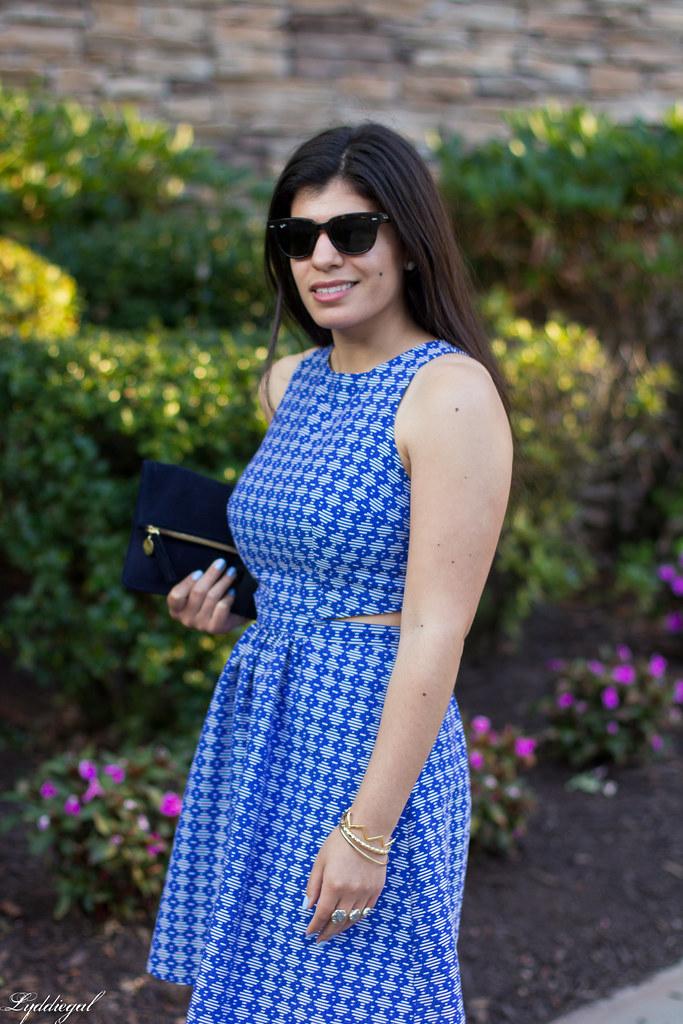 blue print cutout dress, fringe pumps, clare v clutch-5.jpg
