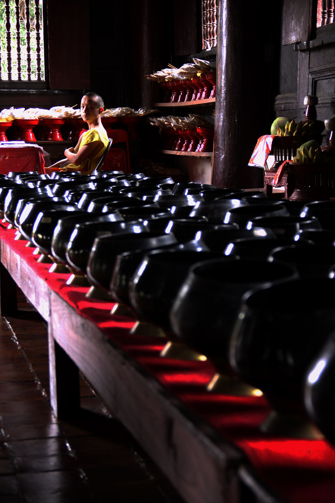 A Monk Watches Over The Alms Bowls, Chiang Mai