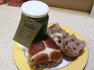 Hot Cross Bun and juice