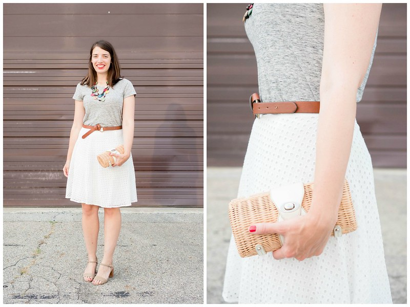 white eyelet skirt + gray tee + souvenir necklace + knot belt + Sole Society block heels | Style On Target