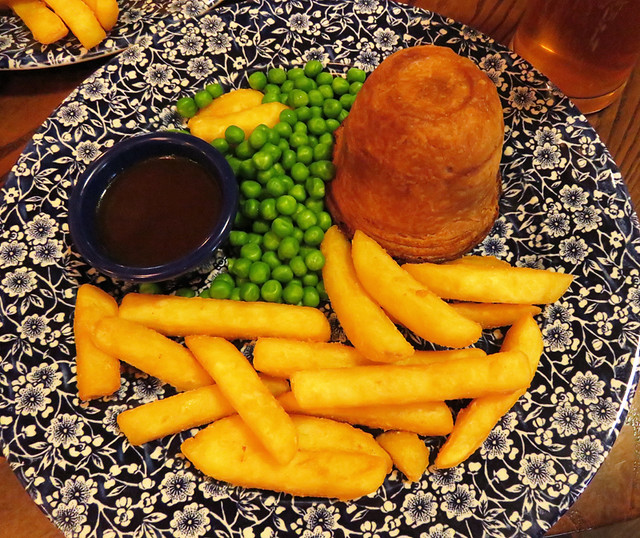 Steak & Ale Pie at the Central Bar in Carrickfergus, a town on the Coastal Causeway Route of Ireland, UK