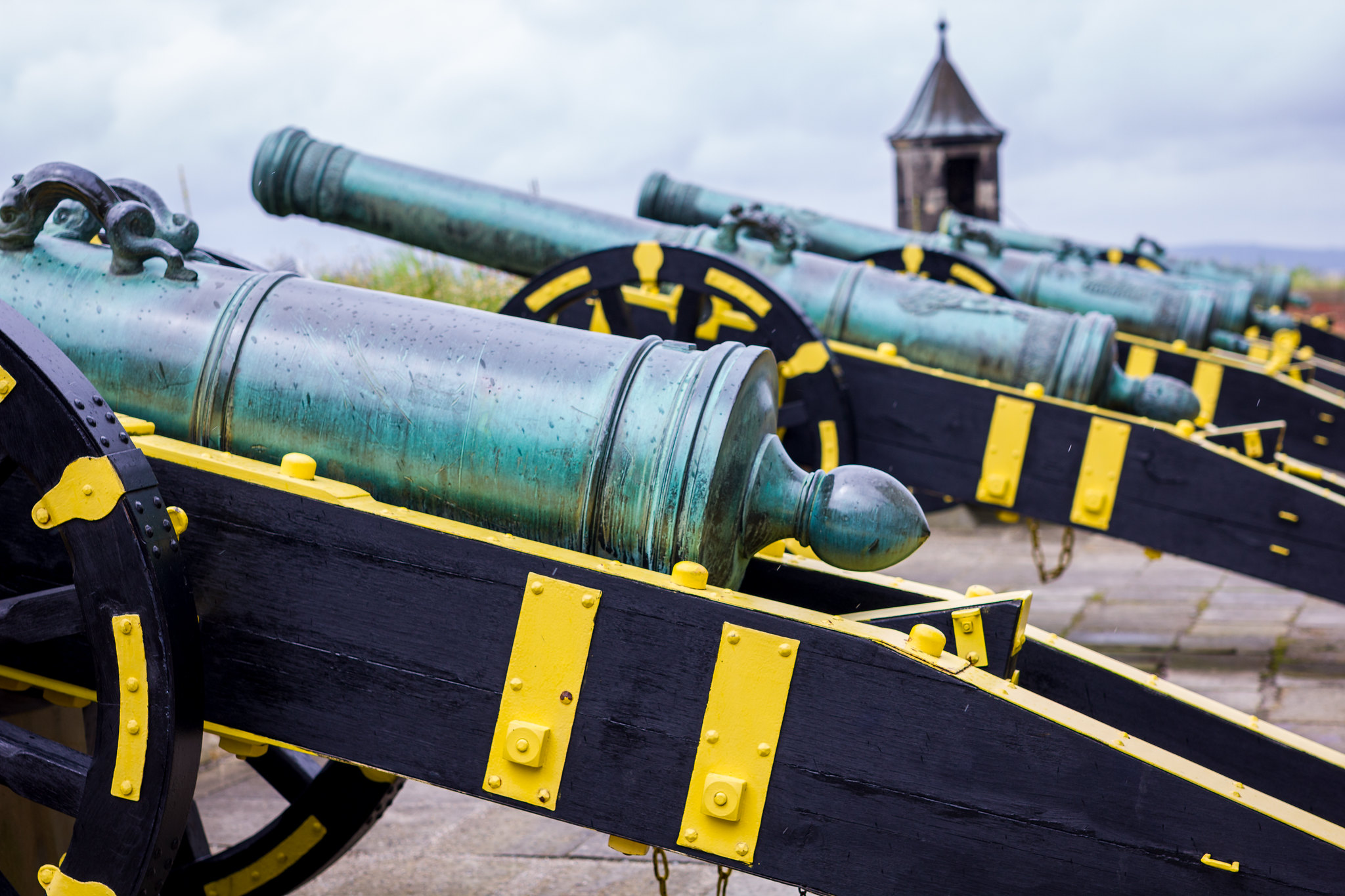 A row of cannon