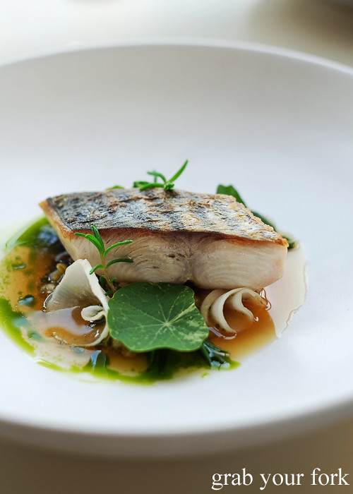 Seared blue mackerel at Bennelong Restaurant Sydney