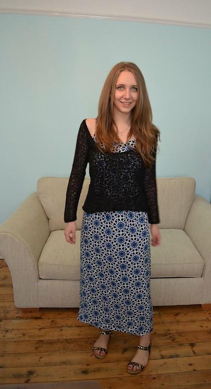 JD Williams Blue Tile Print Maxi Dress 10