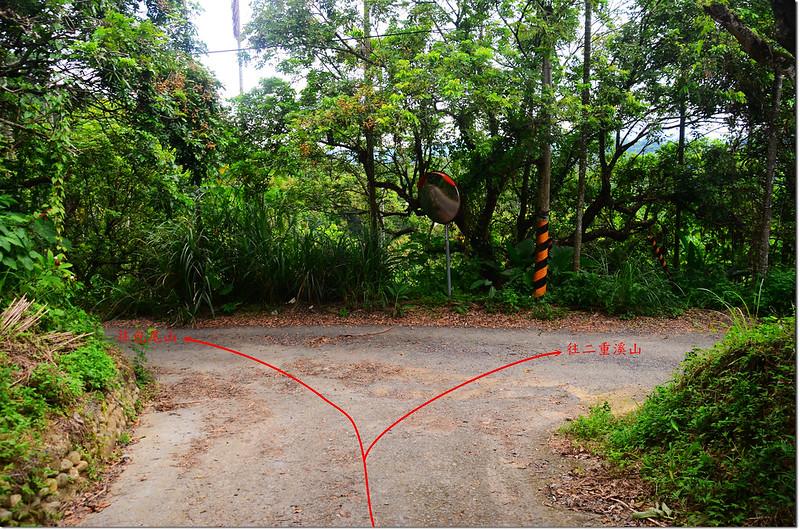 包尾山、二重溪山岔路