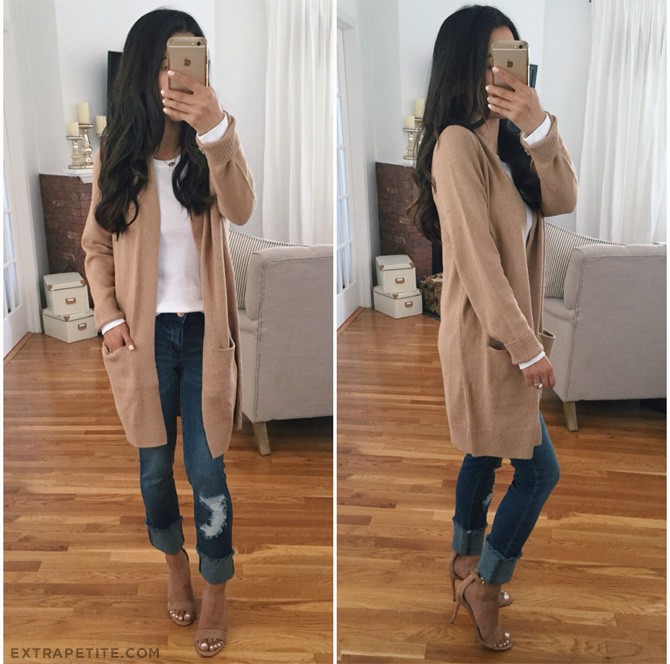 tan brown long cardigan fall outfit_petite fashion